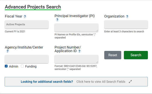 Advanced Projects Search fields from NIH RePORTER