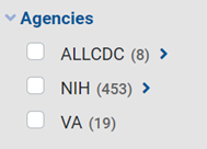List of three agencies, ALLCDC, NIH, and VA, from the NIH RePORTER Filters list.