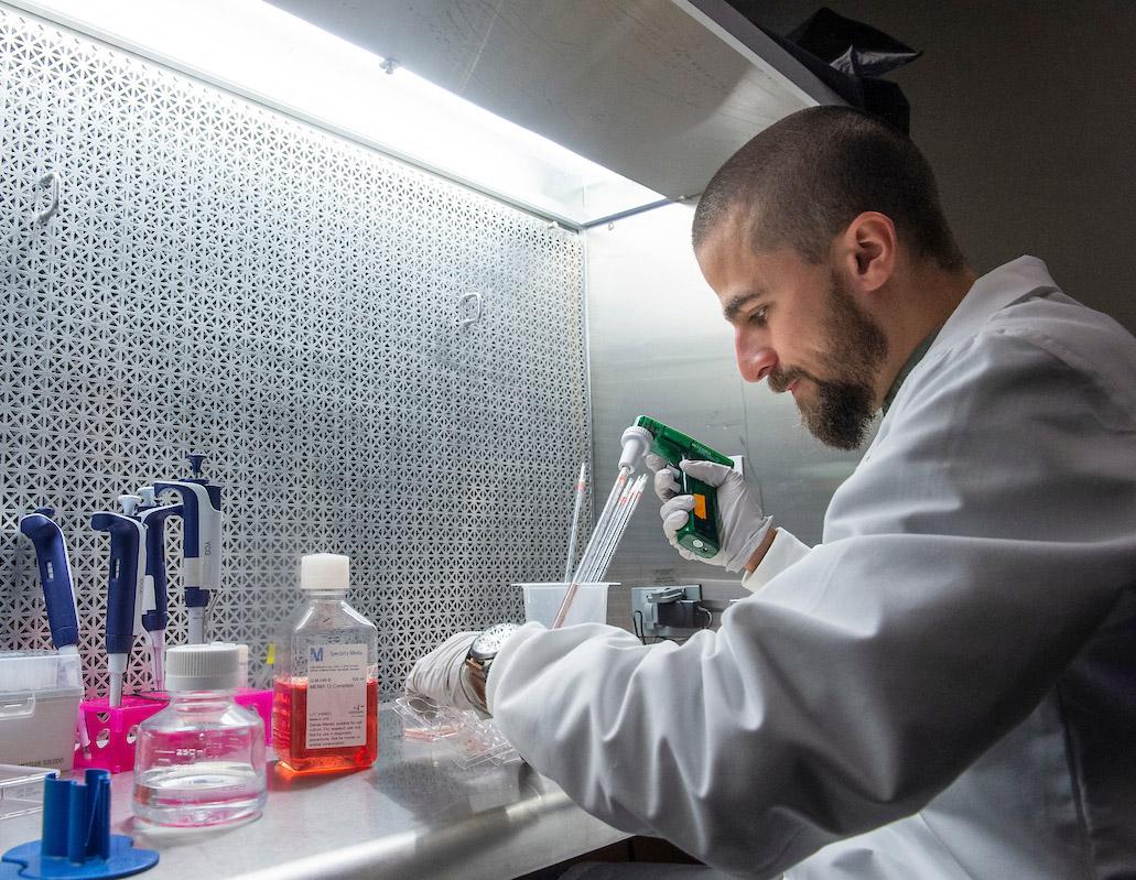 Scientist at lab bench