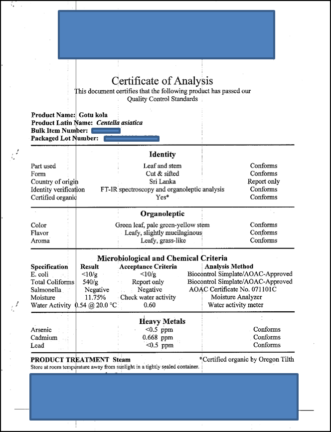This is a sample certificate of analysis showing that the product has passed Quality Control Standards.