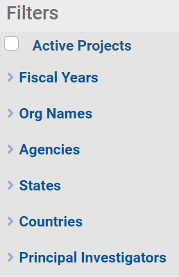 Image of the Filters list in NIH RePORTER