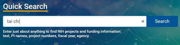 "Photo of NIH RePORTER Quick Search box showing a search for ""tai chi."""