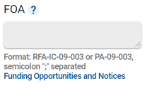 An Advanced Projects search field from NIH RePORTER