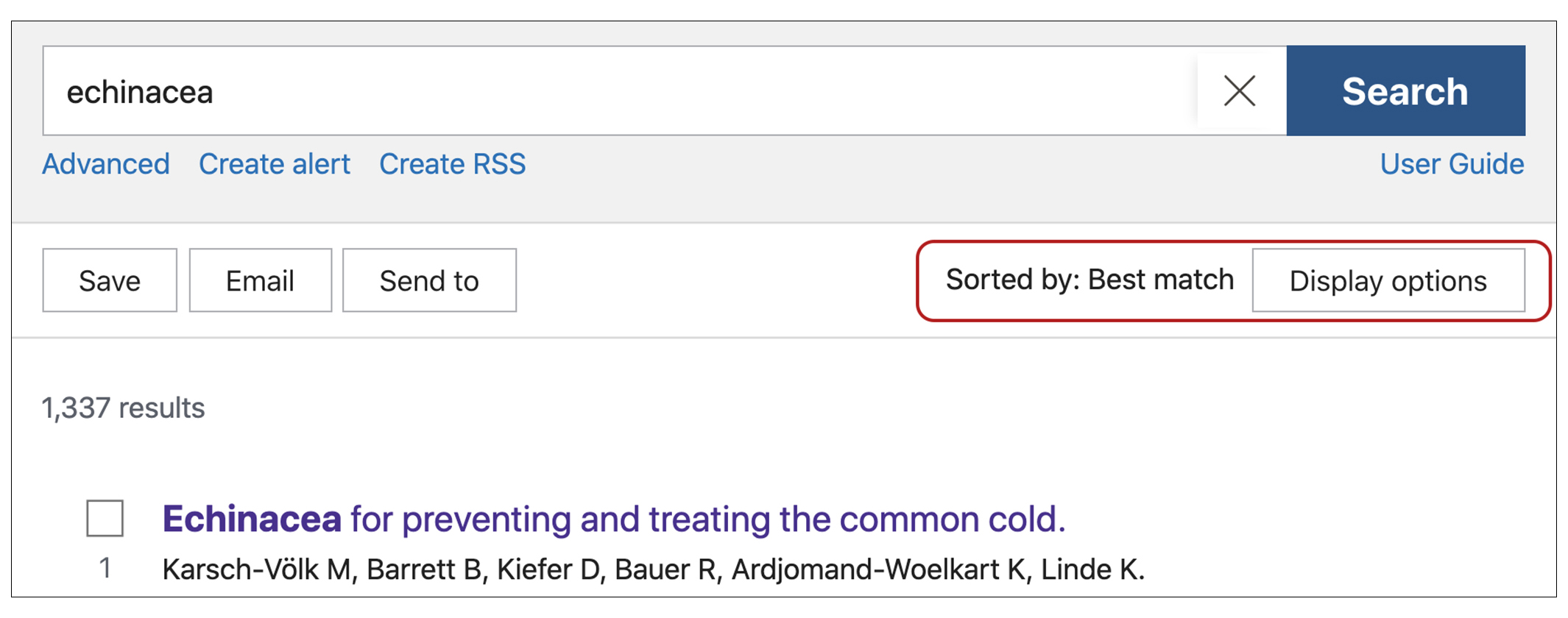image of PubMed search with echinacea in the search bar and the words 175 results circled