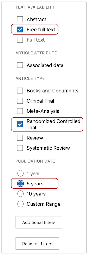 Filter in PubMed search showing free full text, randomized controlled trials, and 5 years circled