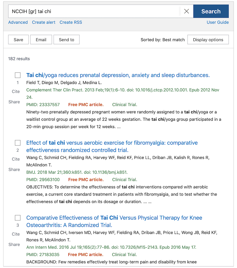 """Results of a PubMed search for """"NCCIH [gr] tai chi"""""""