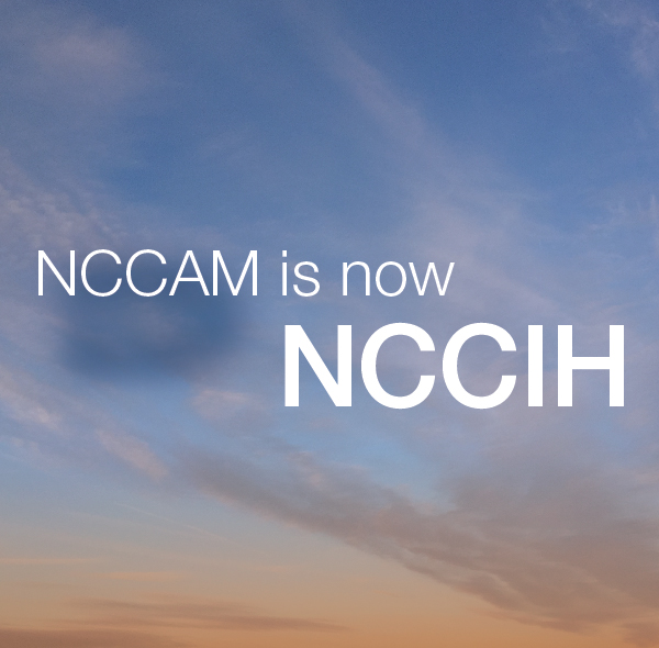 "The graphic ""NCCAM is now NCCIH"""