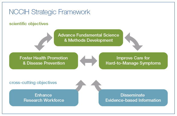 The top section of the diagram shows three scientific objectives, with two-way arrows connecting each to the other two. The three objectives are Advance Fundamental Science & Methods Development, Foster Health Promotion & Disease Prevention, and Improve Care for Hard-to-Manage Symptoms. The bottom section of the diagram shows two cross-cutting objectives, with one-way arrows leading up to the top section. The two objectives are Enhance Research Workforce and Disseminate Evidence-based Information.