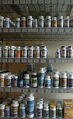 Shelves of bottle pills.