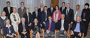 Front row (left to right): Philippa Marrack, Daniel C. Cherkin, Josephine P. Briggs, Michener, Brian M. Berman, David G.I. Kingston. Second row (left to right): Janice K. Kiecolt-Glaser, Mary Jane Guiltinan, Deborah Powell, Martin Goldrosen, David Shurtleff, Tracy W. Gaudet, Eric B. Schoomaker, Frances C. Henderson, ChenChen Wang. Last row (left to right): John C. Licciardone, Steven M. Hersch, Scott Haldeman, Stephen Ezeji-Okoye, David Borsook.