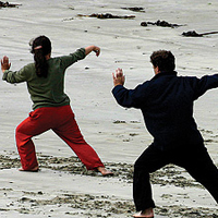 A group practicing tai chi on a beach