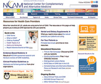 A screenshot of NCCAM's Web portal for health care providers