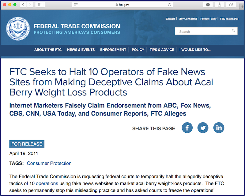 FTC headline: Fake News Sites Promote Bogus Weight Loss Benefits of Acai Berry Supplements