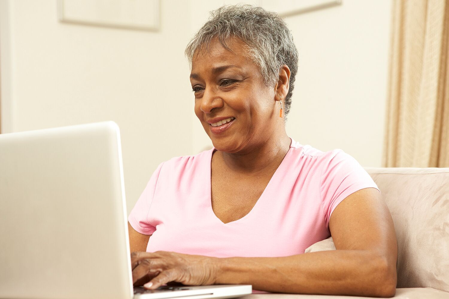 Woman looking up medical information on her computer
