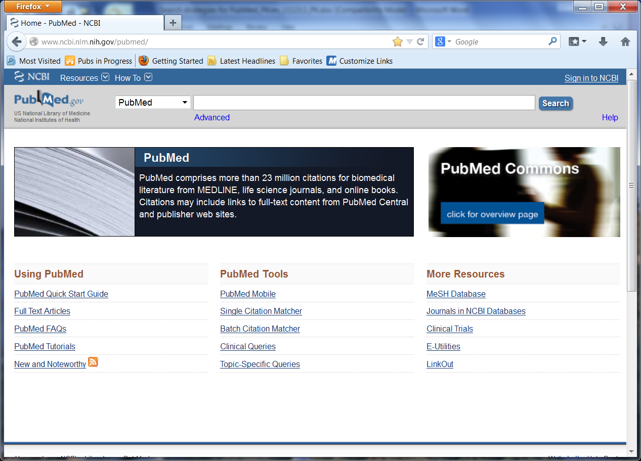 Screen shot of the PubMed home page.