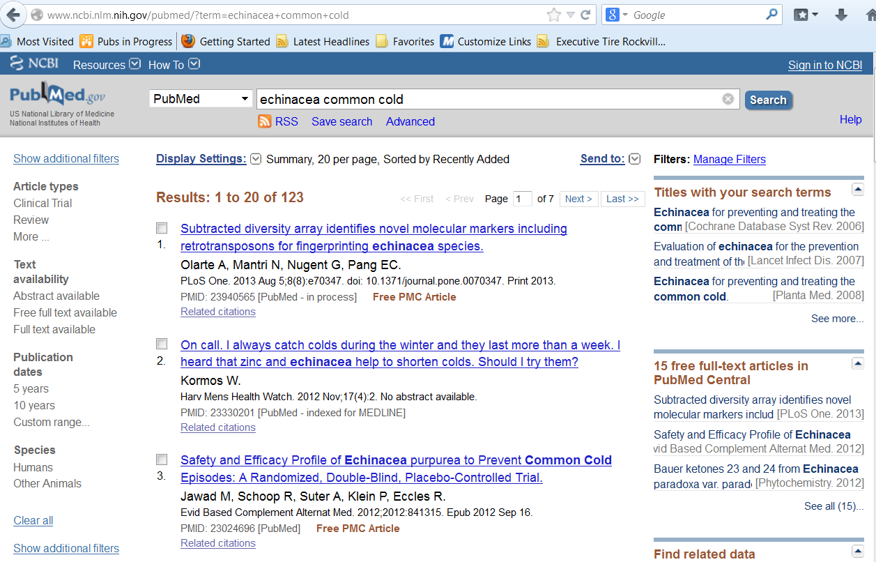 Screen shot of a page of the PubMed Web site with echinacea common cold in the search bar. A list of links to three published articles on the subject are below the search bar.