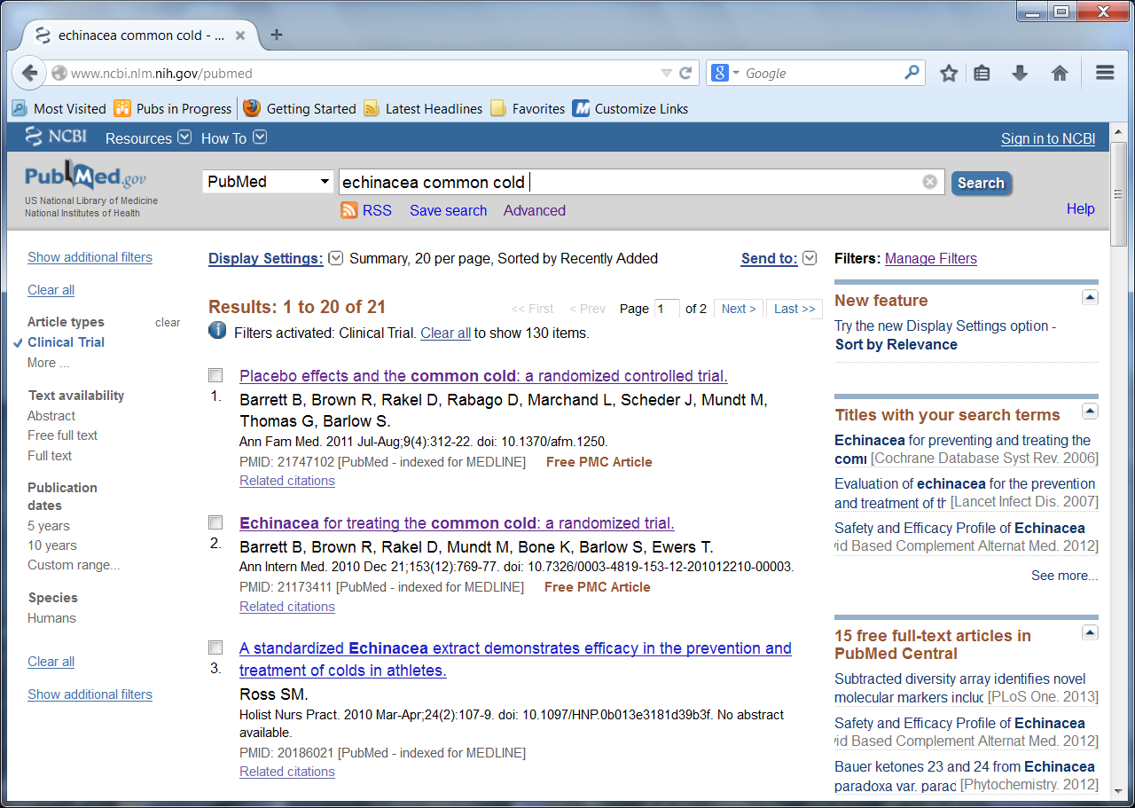 Screen shot of a page from the PubMed Web site with a list of filters on the left side of the screen. Filters include Article types, Text availability, Publication dates, and Species. Clinical Trials is checked and circled under Article types.