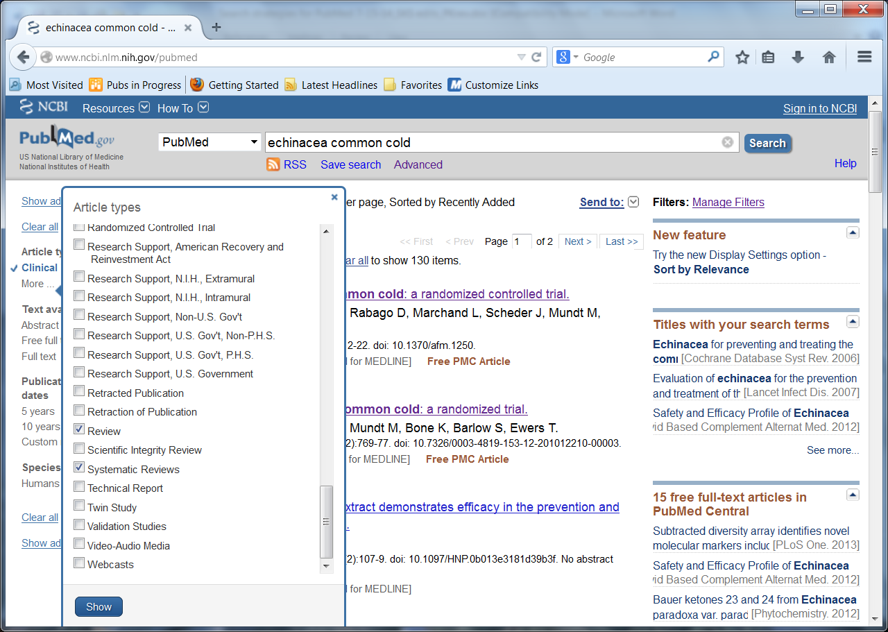 Screen shot of a page from the PubMed Web site showing a drop down menu of Article Types with the words Review and Systematic Reviews checked. Both words are circled.