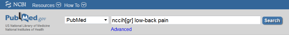 PubMed search box with nccih[gr] low-back pain typed into the box.