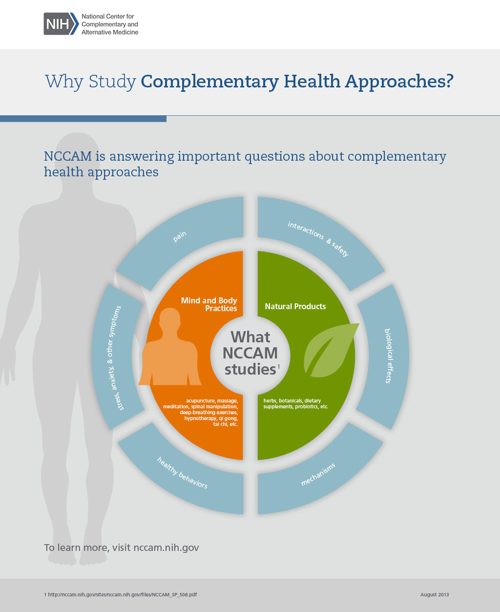 This graphic depicts two priority areas that NCCIH studies: mind and body practices and natural products.  Six important questions about complementary health approaches include: pain; interactions and safety; biological effects; mechanisms; healthy behaviors; and symptoms.