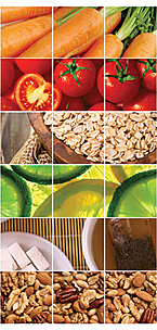 Collage of images displaying Carrots, Tomatos, Grains, Citrus, Tea, and Nuts.