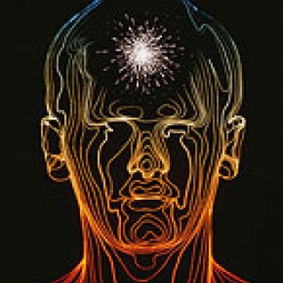 Illustration of a head with a bright light bursting from the forehead.