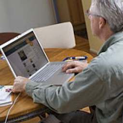 Man searches for health information on his computer