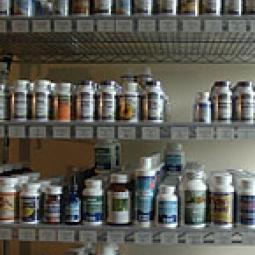 Shelves of bottle pills.