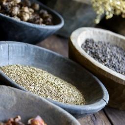 bowls of herbs
