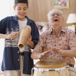 Music senior and child