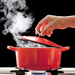 Steam being released from a red pot as a hand lifts the cover
