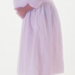 Pregnant woman in a robe.
