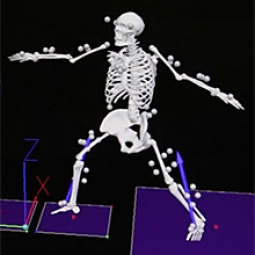 A computer rendering of a person's bones while doing yoga.
