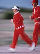 A senior couple jogging