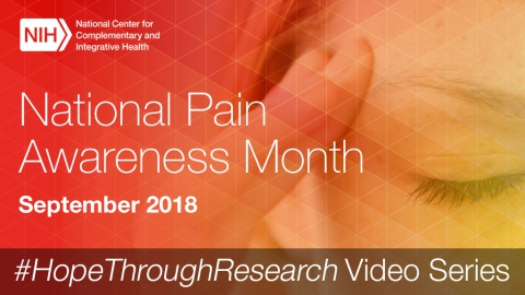 National Pain Awareness Month graphic showing a woman in pain