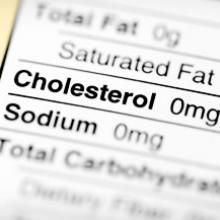 Food label showing 0 milligrams of cholesterol
