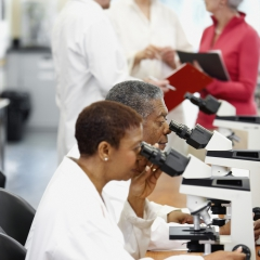 Researchers at lab