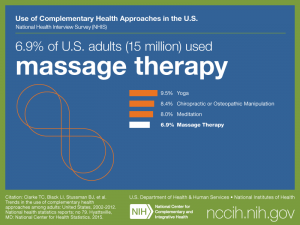 Click on following link for text version of adult use of massage therapy