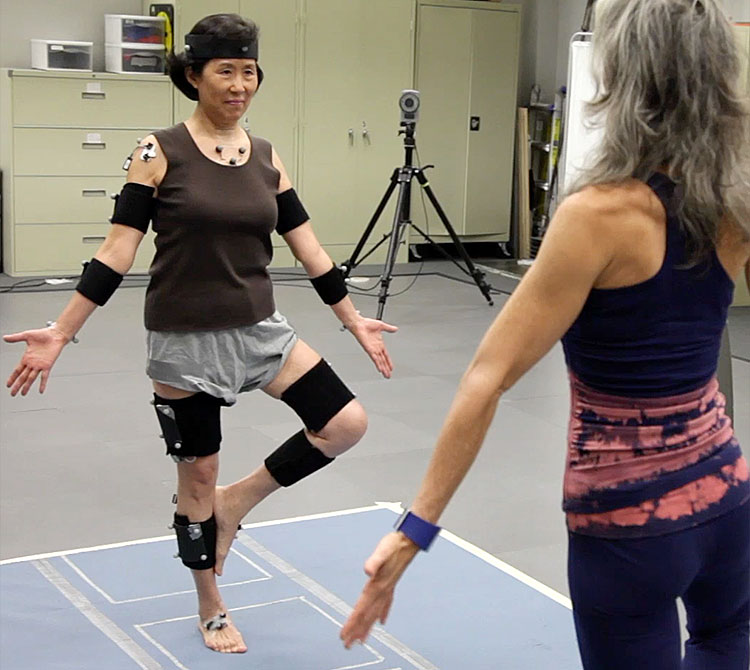 A yoga practitioner is filmed using motion capture